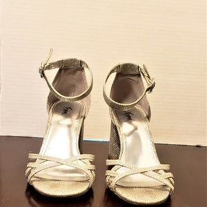 Fioni Silver 1in block heels- Prom- Evening- Weddi